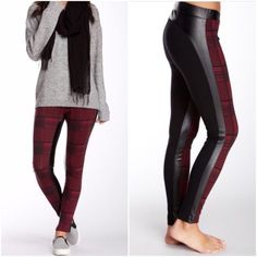 """Romeo + Juliet Couture Leggings Plaid pattern front panel and solid black back panel. Elastic waistband. Stretch faux leather side panels supply stylish edge. Approx 36.5"""" long, 29"""" inseam, 10"""" leg opening. 6 Romeo & Juliet Couture Pants Leggings"""