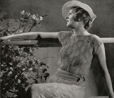 PDF of Minervas Laurel Two Piece Crepe Dress and Boucle Hat Vintage Knitting Pattern, c. 1934