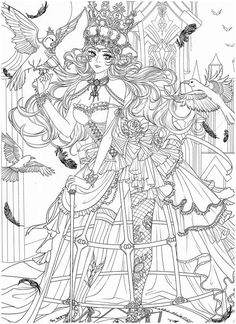 People Coloring Pages, Free Adult Coloring Pages, Cute Coloring Pages, Coloring Pages To Print, Devian Art, Coloring Book Art, Traditional Japanese Tattoos, Lowbrow Art, Fairy Art