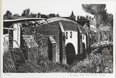 Crown Street, Great Bardfield by Sheila Robinson 1991 Woodcut Print 3/50 (Fry Art Gallery Collection)