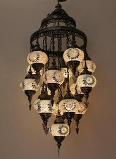 Details. TURKISH MOSAIC OTTOMAN CHANDELIER Size ................. Height 125 cm and 45 cm from the widest part NOTE (Size can be made according to buyers need, If you need specific Height, you can ask according to your roofs height or anywhere else you want to use it.) Weight................ 9 kgs. Glass size .............10 x 13 cm This lamp can be used in the kitchen, in any room or outside the house for really beautiful and charming decorations Bulb used ( E12 USA AND E14 IN EU ) We are…