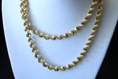 Vintage Gold Tone Twisted Herringbone Necklace Signed PD With A Crown by amyrigs on Etsy