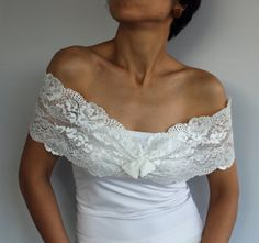 Lace Bridal Shoulder Wrap Romantic Cream Off by MammaMiaBridal, $33.00
