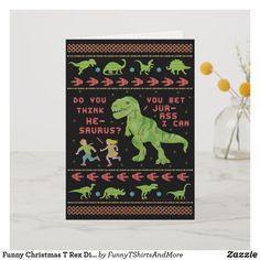 Funny Christmas T Rex Dinosaur Pun Humor Faux Knit Greeting Cards Holiday Puns, Christmas Puns, Christmas Trends, Funny Christmas Cards, Christmas Design, Holiday Crafts, Dinosaur Puns, Funny Puns, Christmas Knitting