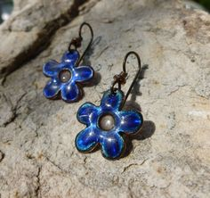 """Blue Enamel Plique-a-jour Forget Me Not Earrings - buy them on Etsy.  See my """"Work in Progress"""" pinboard to follow them through the enameling process."""