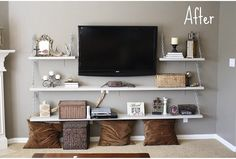 Use free floating shelves and mount the TV. Add a few baskets for hidden storage of games, DVDs, board games, extra pillows, and floor visions.. Free floating shelves saves space for music area/corner.