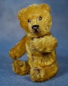 Early Schuco Perfume Teddy Bear with gold color mohair. Dates to around the 1930's.