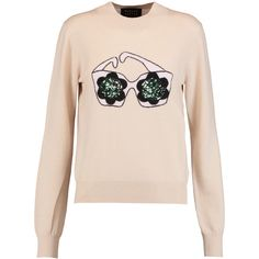Markus Lupfer Daisy Sunglasses sequined intarsia-knit merino wool... (£130) ❤ liked on Polyvore featuring tops, sweaters, beige, merino wool sweater, knit top, sequin sweater, merino sweater and pink sequin top