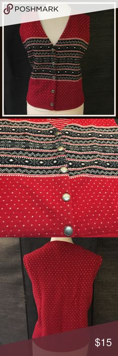 """Eddie Bauer Red & Black Lambswool Vest sz 16W A great little vest for winter & holidays. It has that """"ski-sweater"""" look to it.  Made out of lambswool. Silver buttons going down the front.  Gently used condition with no flaws noted.  THIS VEST IS LABELED LARGE BUT IT RUNS BIG & FITS MORE LIKE A 16W. Measurements~ Bust & Waist - 44""""/ Bottom (just below waist - 46"""")/22"""" long  Contact me with any questions. Thanks so much for looking!! jill ~ ~ ~ ~ ~ ~ ~ Eddie Bauer Sweaters"""