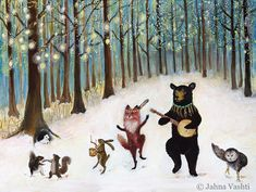 Forest Festivities, birthday card, forest animals, dancing animals, snow, winter, new year