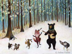 Canvas Print Forest Festivities 17.5 x 23 forest by JahnaVashti, $95.00