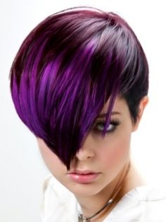 A short #purple #ombre cut shows style and sass!