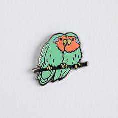 Lovebirds Enamel Pin Bird Lapel Pin // Hard by shinyapplestudio