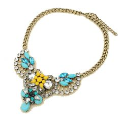 Form a modern statement with this eye-catching sky blue necklace http://youblue.co/antique-blue-crystal-necklace.html
