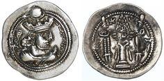 Ancient Coins - Valkash AR Drachm, RARE, BOLD AEF, 484 - 488 C.E.