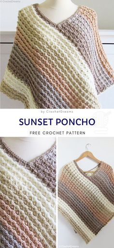 Oversized Crochet Ponchos Sunset Poncho Free Crochet Pattern Structural stitch and stunning autumnal color palette make this poncho a seasonal must-have. You really should have something like that in your closet, because it's versatile. Poncho Au Crochet, Crochet Poncho Patterns, Crochet Scarves, Crochet Clothes, Crochet Stitches, Free Crochet, Knitting Patterns, Knit Crochet, Crochet Vests