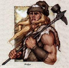 Wulfgar. Los hombres bárbaros, tenían los cabellos largos, ojos azules...