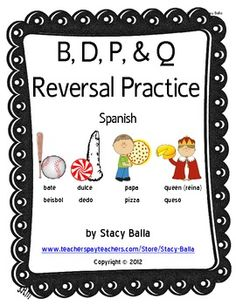 B, D, P, and Q Letter Reversal Practice (Spanish) $ SALE Superbowl Weekend!