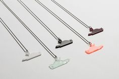 The Dooie Mus necklace by Van Tjalle En Jasper is available in five chirpy colors. Left to Right: White, Ice, Black, Neon, Bordeaux.  Take your pick or take 'em all, funny hipster!