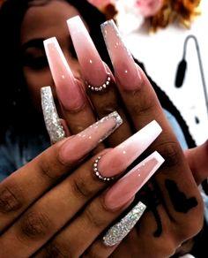 Bling Acrylic Nails, White Acrylic Nails, Best Acrylic Nails, Summer Acrylic Nails, Coffin Nails, Summer Nails, Long Square Acrylic Nails, Cute Acrylic Nail Designs, Coffin Nail Designs