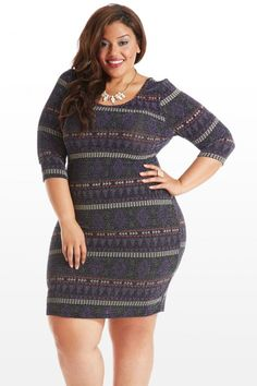 Plus Size Knit Me With Your Best Shot Aztec Shimmer Dress...this would be cute with tights or leggings