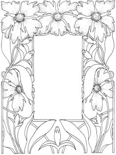 Free coloring page coloring-adult-flowered-framework. Flowered framework : draw what you want in the center, or add a picture !