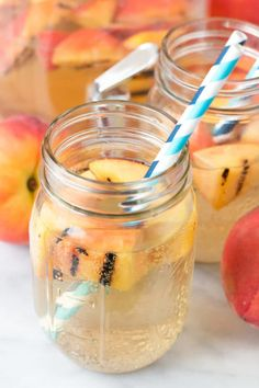 Sparkling Grilled Peach Sangria   cakenknife.com #grilling #peaches #wine #cocktail