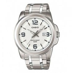 Casio Mens Silver Stainless-Steel Quartz Watch with White Dial Gents Watches, Cool Watches, Rolex Watches, Watches For Men, Wrist Watches, Casio Edifice, Metal Fashion, Elegant Man, Elegant Watches