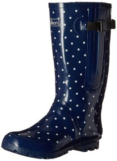 Extra Wide Calf Rain Boots - Navy with White Spots up to 21 Inch Calf >>> More info could be found at the image url.