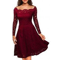Bordowa rozkloszowana koronkowa sukienka midi retro - 1001sukienek.pl