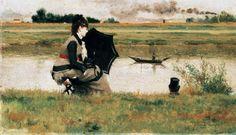 "HONEYMOON (FISHING ON THE SIENE) (1877) by Federico Zandomeneghi (1841-1917) oil on canvas 6"" x 10"" Galleria d'Arte Moderna, Florence"