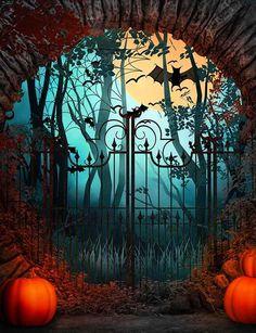 Arch Stone Door And Pumpkin For Halloween Photography Backdrop - Wood Door & Window Backdrops - Retro Halloween, Halloween Kunst, Photo Halloween, Halloween Fotos, Halloween Artwork, Halloween Painting, Halloween Pictures, Holidays Halloween, Halloween Party