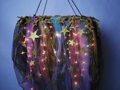 This DIY galaxy chandelier will really improve your ~SPACE~ - HelloGiggles Galaxy Decor, Galaxy Theme, Diy Galaxy, Galaxy Crafts, Space Party, Space Theme, My New Room, My Room, Spare Room