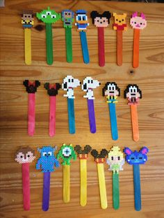 Perler Bead Disney Bookmarks W/colored Popsicle sticks Classroom Gifts Perler Bead Designs, Perler Bead Templates, Hama Beads Design, Diy Perler Beads, Pearler Bead Patterns, Perler Bead Art, Perler Patterns, Disney Hama Beads Pattern, Hama Beads Coasters