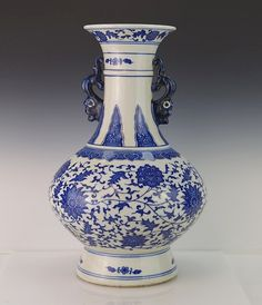 "Chinese Qianlong Period(1736-1795) Dragon  Handled Vase. Marked on bottom. 12 1/2"" High  x 7 1/2"" Diameter."