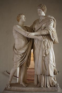 A marble representation of Orestes and Electra, the children of Agamemnon from Greek mythology. They stand before the tomb of their father and are in mourning. Ancient Romans, Ancient Art, Ancient History, World Mythology, Greek Mythology, Greek Model, Roman Sculpture, Sculpture Ideas, History Encyclopedia