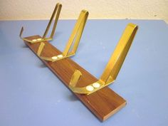 Danish mid-century modernist wardrobe hat rack Teak string 50s 60s