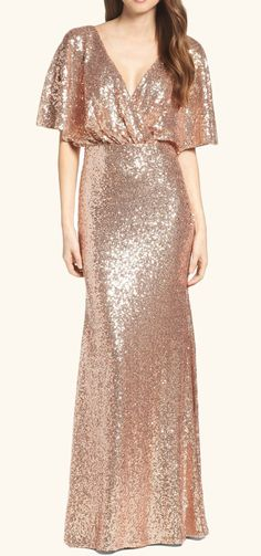 V Neck Sequin Long Bridesmaid Dress Rose Gold Formal Evening Gown #dress #gown #sequin #rosegold #formaldress #formalgown #eveningdress #eveninggown #wedding #prom #promdress #promgown