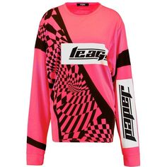 Jaded London NEON PRINT MOTORCROSS Langærmede T-shirts ❤ liked on Polyvore featuring tops, t-shirts, mixed print top, pink tee, pink t shirt, print top and neon pink t shirt