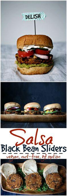 Salsa & spice give these meatless Black Bean sliders a BIG kick of flavor. Vegan Dinner Recipes, Delicious Vegan Recipes, Vegan Snacks, Vegan Appetizers, Snack Recipes, Vegan Vegetarian, Vegetarian Recipes, Savoury Recipes, Vegan Burgers