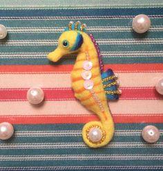 Seahorse Needle-felt Wool Brooch by MeMeForest on Etsy