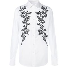 Alexander McQueen floral embroidered shirt (1,130 CAD) ❤ liked on Polyvore featuring men's fashion, men's clothing, men's shirts, men's dress shirts, white, mens formal shirts, mens white dress shirts, mens long sleeve shirts, mens white long sleeve t shirt and mens dress shirts