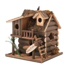 """OFF - Bamboo Wooden Bird House Gone Fishin :: Cute little cabin awaits its residents' return, after a day of """"goin' fishin'. Product Material:Barkwood, plywood and eucalyptus wood. Wooden Bird Houses, Decorative Bird Houses, Bird Houses Diy, Victorian Birdhouses, Bird House Kits, Bird Aviary, Wood Bird, Little Cabin, Kit Homes"""