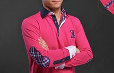 #Pink #Polo #Shirt Checkered Lining Elbow Patches  $89.90 #frenchflair #mensfashion