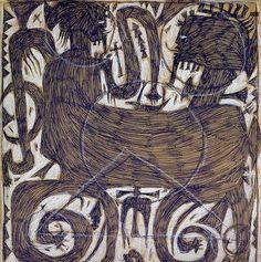"""François BurlandRéf. mono 115""""Homo bicus""""1994Néocolor et Bic sur papier35 x 32 cm"""