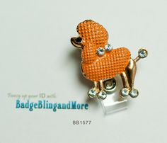 Fancy Poodle in Creamy Orange -  Nurse/Professionals/Conventions - Badge Holder Lanyard Clip BB1577