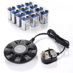12PCS 9V Li-ion lithium Rechargeable Batteries +  a Rapid 9 Volt Battery Charger #EBL