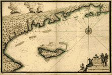 1700: Map of Île-à-Vache and the coast of Saint-Domingue, from Pointe de l'Abacou to east of Aquin.