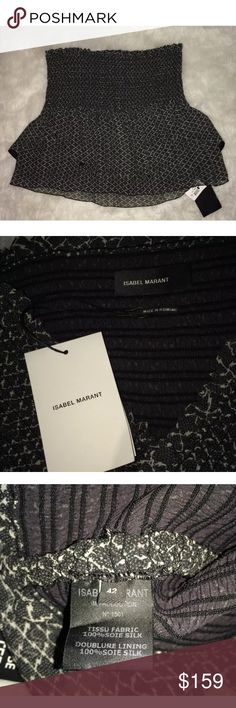 Isabel Marant NWT Silk Skirt Size 42 with Ruffles Beautiful skirt by Isabel Marant! This skirt is 100% silk and a size 42 (US 6). The colors are white and dark gray. New with tags! Isabel Marant Skirts Mini