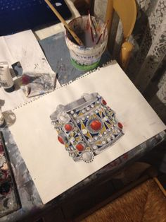My painting of a Berber bracelet Identity, Culture, Bracelet, Watches, Deco, Painting, Jewelry, Drawing Ideas, Stencil
